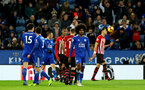 LEICESTER, ENGLAND - JANUARY 12: Yan Valery of Southampton is shown a red card during the Premier League match between Leicester City and Southampton FC at The King Power Stadium on January 12, 2019 in Leicester, United Kingdom. (Photo by Matt Watson/Southampton FC via Getty Images)
