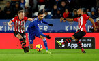 LEICESTER, ENGLAND - JANUARY 12: James Ward-Prowse(L) and Nathan Redmond of Southampton during the Premier League match between Leicester City and Southampton FC at The King Power Stadium on January 12, 2019 in Leicester, United Kingdom. (Photo by Matt Watson/Southampton FC via Getty Images)
