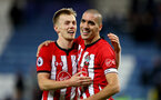 LEICESTER, ENGLAND - JANUARY 12: James Ward-Prowse(L) and Oriol Romeu of Southampton during the Premier League match between Leicester City and Southampton FC at The King Power Stadium on January 12, 2019 in Leicester, United Kingdom. (Photo by Matt Watson/Southampton FC via Getty Images)