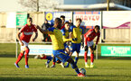 MIDDLESBROUGH, ENGLAND - JANUARY 13:  Tyreke Johnson takes a penalty (middle) during the Premier League 2 match between Middlesbrough FC and Southampton FC at Heritage Park on January 13, 2019 in Middlesbrough, United Kingdom. (Photo by James Bridle - Southampton FC/Southampton FC via Getty Images)