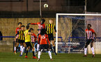LONDON, ENGLAND - JANUARY 17:  David Agbonohoma heads the ball (middle) during a  FA Youth Cup match between Watford FC and Southampton FC on January 17, 2019 in Watford, United Kingdom. (Photo by James Bridle - Southampton FC/Southampton FC via Getty Images)