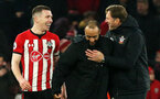 SOUTHAMPTON, ENGLAND - JANUARY 19: From left, Pierre-Emile Hojbjerg, Nathan Redmond and manager Ralph Hasenhuttl at full-time during the Premier League match between Southampton FC and Everton FC at St Mary's Stadium on January 19, 2019 in Southampton, United Kingdom. (Photo by Chris Moorhouse/Southampton FC via Getty Images)