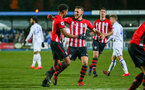 LEEDS, ENGLAND - JANUARY 21:  Marcus Barnes scores (left) and celebrates with Harry Hamblin (middle) during the PL CUP match between Leeds United vs Southampton FC on January 21, 2019 in Watford, United Kingdom. (Photo by James Bridle - Southampton FC/Southampton FC via Getty Images)