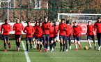 SOUTHAMPTON, ENGLAND - JANUARY 23: Players warm up during a Southampton FC training session at the Staplewood Campus on January 23, 2019 in Southampton, England. (Photo by Matt Watson/Southampton FC via Getty Images)
