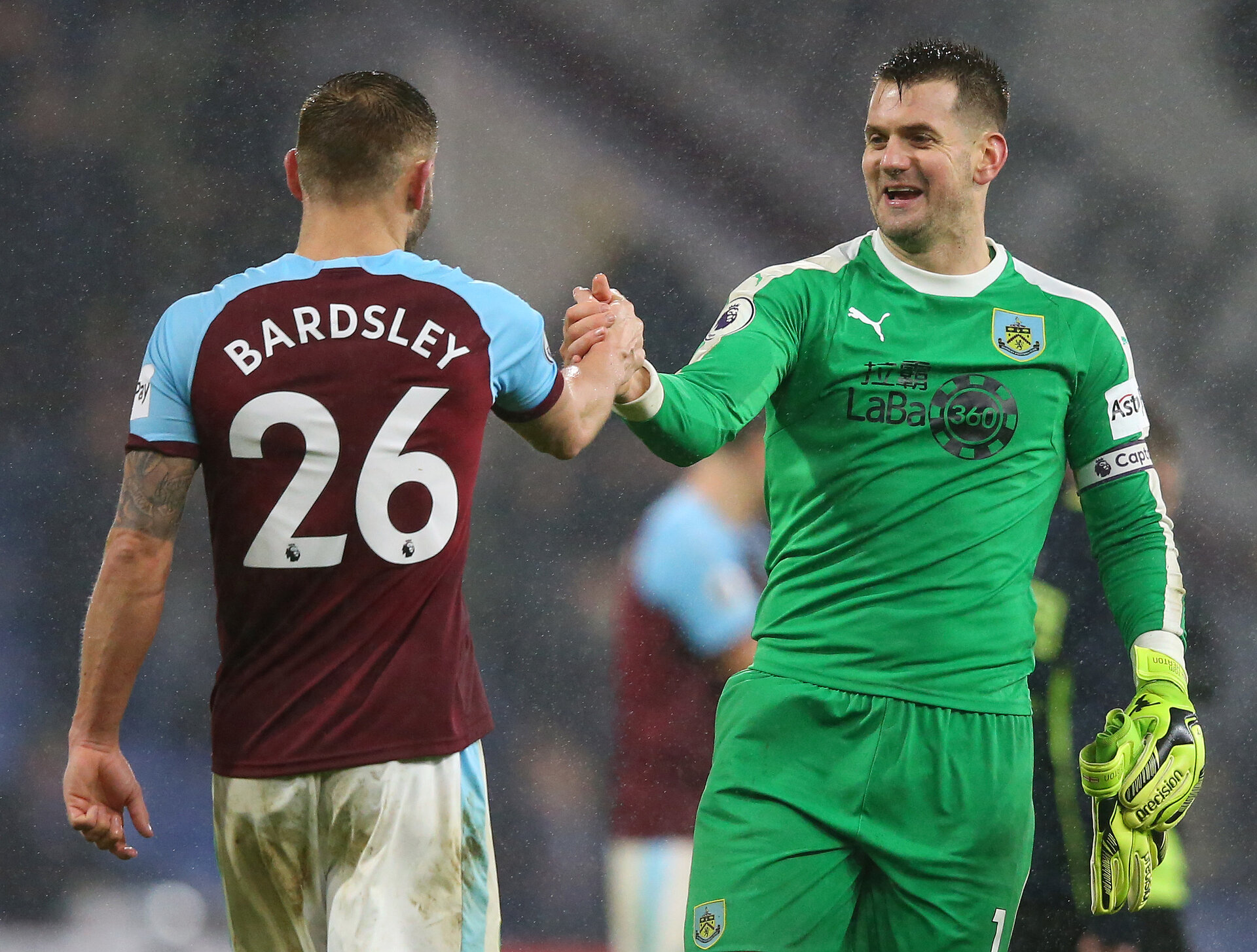 BURNLEY, ENGLAND - JANUARY 12:  Phillip Bardsley and Thomas Heaton of Burnley celebrate following the Premier League match between Burnley FC and Fulham FC at Turf Moor on January 12, 2019 in Burnley, United Kingdom.  (Photo by Alex Livesey/Getty Images)