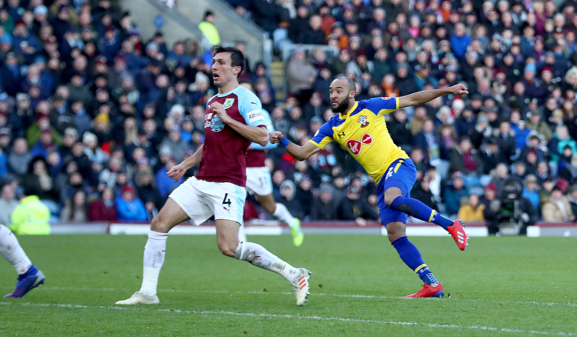 BURNLEY, ENGLAND - FEBRUARY 02: Nathan Redmond watches his shot hit the back of the net during the Premier League match between Burnley FC and Southampton FC at Turf Moor on February 02, 2019 in Burnley, United Kingdom. (Photo by Matt Watson/Southampton FC via Getty Images)