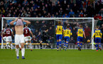 BURNLEY, ENGLAND - FEBRUARY 02: Alex McCarthy of Southampton is beaten by a penalty from Ashley Barnes of Burnley during the Premier League match between Burnley FC and Southampton FC at Turf Moor on February 02, 2019 in Burnley, United Kingdom. (Photo by Matt Watson/Southampton FC via Getty Images)