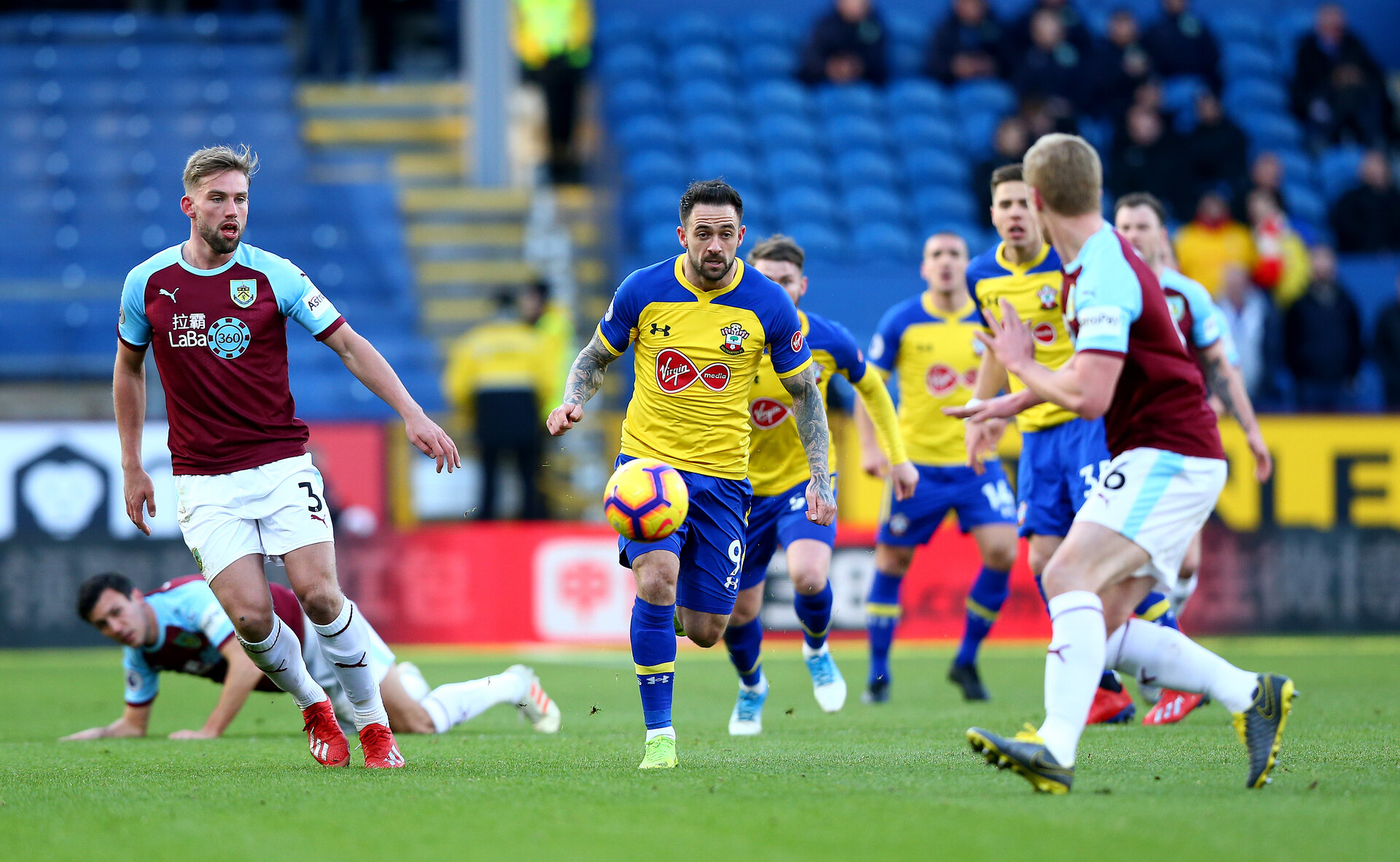 BURNLEY, ENGLAND - FEBRUARY 02: Danny Ings of Southampton during the Premier League match between Burnley FC and Southampton FC at Turf Moor on February 02, 2019 in Burnley, United Kingdom. (Photo by Matt Watson/Southampton FC via Getty Images)