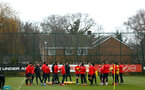 SOUTHAMPTON, ENGLAND - FEBRUARY 05: Southampton FC  players speak as a group with Manager Ralph Hasenhuttl during a Southampton FC  training session at Staplewood Complex on February 05, 2019 in Southampton, England. (Photo by James Bridle - Southampton FC/Southampton FC via Getty Images)