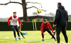 SOUTHAMPTON, ENGLAND - FEBRUARY 06: LtoR Sam Gallagher, Charlie Austin during a Southampton FC training session at Staplewood Complex on February 06, 2019 in Southampton, England. (Photo by James Bridle - Southampton FC/Southampton FC via Getty Images)