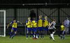 NEWCASTLE, ENGLAND - FEBRUARY 08: Southampton FC  form a wall for a Newcastle Freekick during a PLCUP match between Southampton FC and Newcastle United pictured at Northumberland County FA on February 08, 2019 in Newcastle, England. (Photo by James Bridle - Southampton FC/Southampton FC via Getty Images)