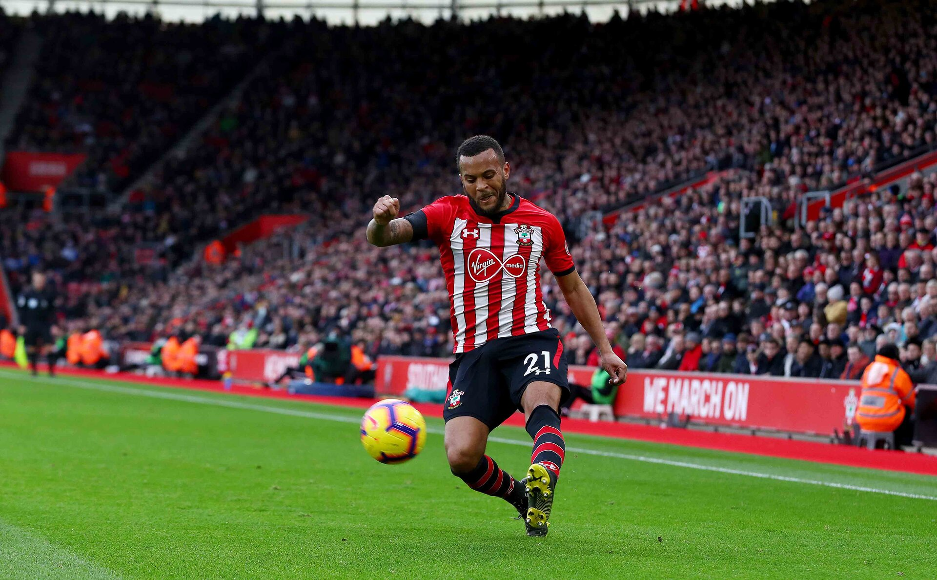 SOUTHAMPTON, ENGLAND - FEBRUARY 09: Ryan Bertrand of Southampton during the Premier League match between Southampton FC and Cardiff City at St Mary's Stadium on February 09, 2019 in Southampton, United Kingdom. (Photo by Matt Watson/Southampton FC via Getty Images)