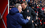 SOUTHAMPTON, ENGLAND - FEBRUARY 09: Neil Warnock and Ralph Hasenhuttl during the Premier League match between Southampton FC and Cardiff City at St Mary's Stadium on February 9, 2019 in Southampton, United Kingdom. (Photo by Chris Moorhouse/Southampton FC via Getty Images)