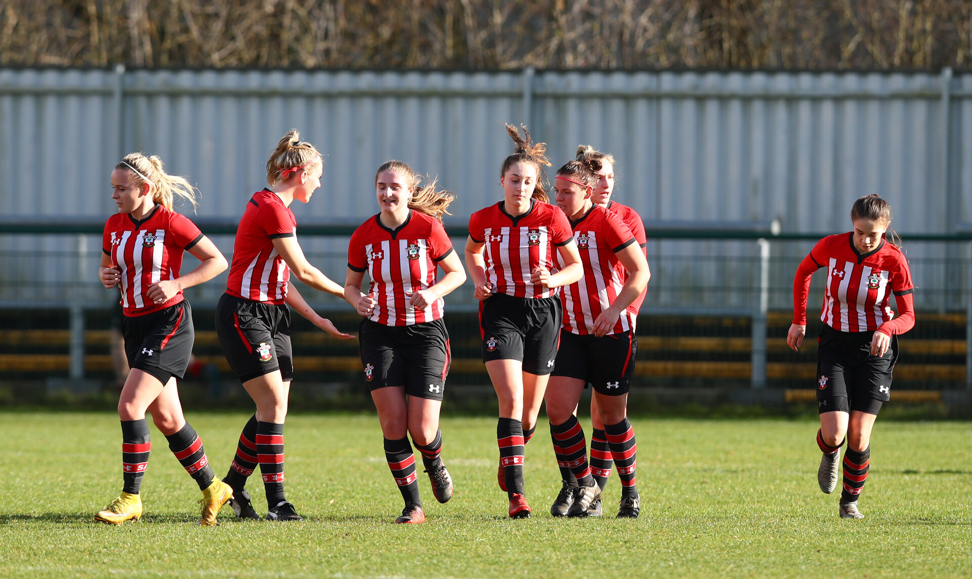 Southampton celebrate a goal during the Southern Region Women's Premier League match between Southampton and Oxford City, The Westwood Stadium, AFC Totton, Totton, Southampton, 10th February 2019