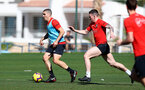 TENERIFE, SPAIN - FEBRUARY 13: Oriol Romeu(L) and Pierre-Emile Hojbjerg on day 3 of Southampton FC's winter training camp on February 13, 2019 in Tenerife, Spain. (Photo by Matt Watson/Southampton FC via Getty Images)