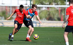 TENERIFE, SPAIN - FEBRUARY 13: Mohamed Elyounoussi(L) and Jake Vokins on day 3 of Southampton FC's winter training camp on February 13, 2019 in Tenerife, Spain. (Photo by Matt Watson/Southampton FC via Getty Images)