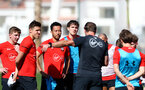TENERIFE, SPAIN - FEBRUARY 13: Ralph Hasenhuttl gives players instruction on day 3 of Southampton FC's winter training camp on February 13, 2019 in Tenerife, Spain. (Photo by Matt Watson/Southampton FC via Getty Images)