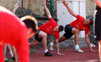 TENERIFE, SPAIN - FEBRUARY 14: Pierre-Emile Hojbjerg(L) and Jannik Vestergaard on day 4 of Southampton FC's winter training camp on February 14, 2019 in Tenerife, Spain. (Photo by Matt Watson/Southampton FC via Getty Images)