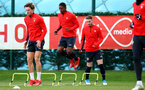 Kayne Ramsay(centre) during a Southampton FC training session at the Staplewood Campus, Southampton, 19th February 2019