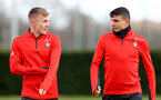 James Ward-Prowse(L) and Mohamed Elyounoussi during a Southampton FC training session at the Staplewood Campus, Southampton, 19th February 2019