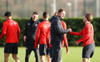 Ralph Hasenhuttl greets his players during a Southampton FC training session at the Staplewood Campus, Southampton, 19th February 2019