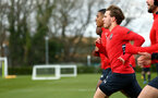 SOUTHAMPTON, ENGLAND - FEBRUARY 20: Jake Vokins (left) during a Southampton FC training session pictured at Staplewood Complex on February 20, 2019 in Southampton, England. (Photo by James Bridle - Southampton FC/Southampton FC via Getty Images)