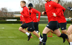 SOUTHAMPTON, ENGLAND - FEBRUARY 20: James Ward-Prowse (left) during a Southampton FC training session pictured at Staplewood Complex on February 20, 2019 in Southampton, England. (Photo by James Bridle - Southampton FC/Southampton FC via Getty Images)