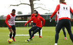 SOUTHAMPTON, ENGLAND - FEBRUARY 20: Nathan Redmond (middle) Kayne Ramsay (left) during a Southampton FC training session pictured at Staplewood Complex on February 20, 2019 in Southampton, England. (Photo by James Bridle - Southampton FC/Southampton FC via Getty Images)