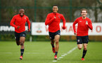 SOUTHAMPTON, ENGLAND - FEBRUARY 20: LtoR Michael Obafemi, Yan Valery, Jake Vokins during a Southampton FC training session pictured at Staplewood Complex on February 20, 2019 in Southampton, England. (Photo by James Bridle - Southampton FC/Southampton FC via Getty Images)