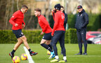 SOUTHAMPTON, ENGLAND - FEBRUARY 20: Ralph Hasenhuttl (right) during a Southampton FC training session pictured at Staplewood Complex on February 20, 2019 in Southampton, England. (Photo by James Bridle - Southampton FC/Southampton FC via Getty Images)