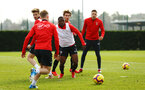SOUTHAMPTON, ENGLAND - FEBRUARY 20: Michael Obafemi (middle) during a Southampton FC training session pictured at Staplewood Complex on February 20, 2019 in Southampton, England. (Photo by James Bridle - Southampton FC/Southampton FC via Getty Images)