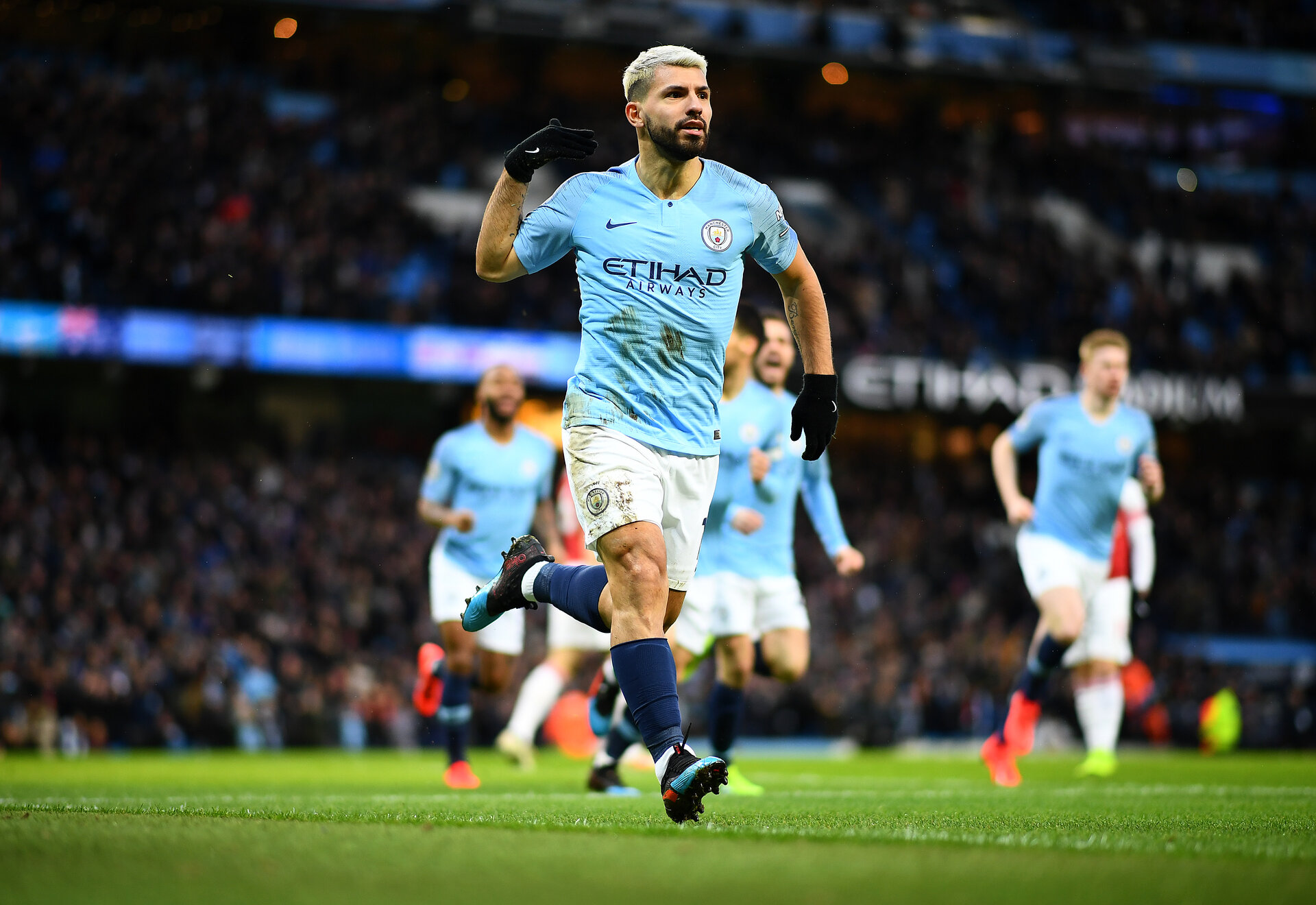 MANCHESTER, ENGLAND - FEBRUARY 03: Sergio Aguero of Manchester City celebrates his first goal during the Premier League match between Manchester City and Arsenal FC at Etihad Stadium on February 03, 2019 in Manchester, United Kingdom. (Photo by Clive Mason/Getty Images)