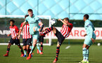SOUTHAMPTON, ENGLAND - FEBRUARY 23: Kornelius Hansen (middle) during the U18's premier league match between Southampton FC and Arsenal FC pictured in Southampton, England. (Photo by James Bridle - Southampton FC/Southampton FC via Getty Images)
