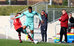 SOUTHAMPTON, ENGLAND - FEBRUARY 23:  Kornelius Hansen (left) during the U18's premier league match between Southampton FC and Arsenal FC pictured in Southampton, England. (Photo by James Bridle - Southampton FC/Southampton FC via Getty Images)