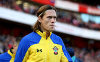 LONDON, ENGLAND - FEBRUARY 24: Jannik Vestergaard of during the Premier League match between Arsenal FC and Southampton FC at Emirates Stadium on February 24, 2019 in London, United Kingdom. (Photo by Matt Watson/Southampton FC via Getty Images)