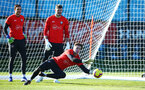 SOUTHAMPTON, ENGLAND - FEBRUARY 25:  Harry lewis makes a save during a Southampton FC training session pictured at Staplewood Training Ground in Southampton, England.  (Photo by James Bridle - Southampton FC/Southampton FC via Getty Images)