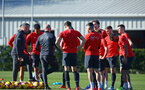 SOUTHAMPTON, ENGLAND - FEBRUARY 25:  Southampton FC  players talk as a group during a Southampton FC training session pictured at Staplewood Training Ground in Southampton, England.  (Photo by James Bridle - Southampton FC/Southampton FC via Getty Images)