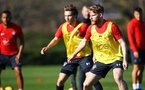 SOUTHAMPTON, ENGLAND - FEBRUARY 25:  Josh Sims (right) during a Southampton FC training session pictured at Staplewood Training Ground in Southampton, England.  (Photo by James Bridle - Southampton FC/Southampton FC via Getty Images)