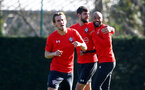 SOUTHAMPTON, ENGLAND - FEBRUARY 26: Jack Stephens(L) and Nathan Redmond during a Southampton FC training session at the Staplewood Campus on February 26, 2019 in Southampton, England. (Photo by Matt Watson/Southampton FC via Getty Images)