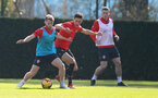 SOUTHAMPTON, ENGLAND - FEBRUARY 26: Josh Sims(L) and Alfie Jones during a Southampton FC training session at the Staplewood Campus on February 26, 2019 in Southampton, England. (Photo by Matt Watson/Southampton FC via Getty Images)