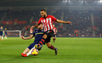 SOUTHAMPTON, ENGLAND - FEBRUARY 27: Ryan Bertrand(R) of Southampton and Calum Chambers of Fulham  during the Premier League match between Southampton FC and Fulham FC at St Mary's Stadium on February 27, 2019 in Southampton, United Kingdom. (Photo by Matt Watson/Southampton FC via Getty Images)