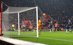 SOUTHAMPTON, ENGLAND - FEBRUARY 27: Shane Long of Southampton shoots wide during the Premier League match between Southampton FC and Fulham FC at St Mary's Stadium on February 27, 2019 in Southampton, United Kingdom. (Photo by Matt Watson/Southampton FC via Getty Images)