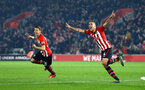 SOUTHAMPTON, ENGLAND - FEBRUARY 27:  Oriol Romeu of Southampton FC scores (right) Jan Bednarek (left) during the Premier League match between Southampton FC and Fulham FC at St Mary's Stadium on February 27, 2019 in Southampton, United Kingdom. (Photo by James Bridle - Southampton FC/Southampton FC via Getty Images)