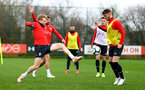 SOUTHAMPTON, ENGLAND - MARCH 03: Stuart Armstrong(L) and Josh Sims during a Southampton FC training session at the Staplewood Campus on March 03, 2019 in Southampton, England. (Photo by Matt Watson/Southampton FC via Getty Images)