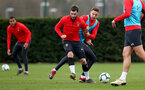 SOUTHAMPTON, ENGLAND - MARCH 05: Charlie Austin(L) and Jan Bednarek during a Southampton FC training session at the Staplewood Campus on March 05, 2019 in Southampton, England. (Photo by Matt Watson/Southampton FC via Getty Images)