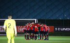 SOUTHAMPTON, ENGLAND - MARCH 06: Southampton FC U23's huddle ahead of kick off for the U23's International Cup match between Southampton FC vs Villarreal pictured at Staplewood Complex on March 06, 2019 in Southampton, England. (Photo by James Bridle - Southampton FC/Southampton FC via Getty Images)