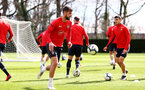 SOUTHAMPTON, ENGLAND - MARCH 07:  Jack Stephens (left) during a Southampton FC training session pictured at Staplewood Complex on March 07, 2019 in Southampton, England. (Photo by James Bridle - Southampton FC/Southampton FC via Getty Images)