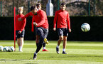 SOUTHAMPTON, ENGLAND - MARCH 07:  Charlie Austin (left) during a Southampton FC training session pictured at Staplewood Complex on March 07, 2019 in Southampton, England. (Photo by James Bridle - Southampton FC/Southampton FC via Getty Images)
