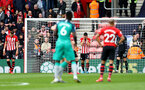 SOUTHAMPTON, ENGLAND - MARCH 09: Southampton players react after Harry Kane of Tottenham Hotspur opens the scoring during the Premier League match between Southampton FC and Tottenham Hotspur at St Mary's Stadium on March 09, 2019 in Southampton, United Kingdom. (Photo by Matt Watson/Southampton FC via Getty Images)