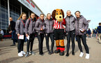SOUTHAMPTON, ENGLAND - MARCH 09: Southampton FC Women's team with Sammy Saint Mascot (middle) ahead of the Premier League match between Southampton FC and Tottenham Hotspur at St Mary's Stadium on March 09, 2019 in Southampton, United Kingdom. (Photo by James Bridle - Southampton FC/Southampton FC via Getty Images)
